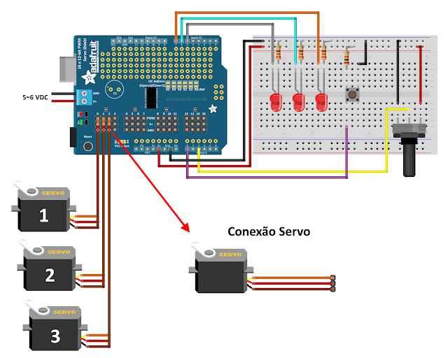 Circuito Arduino Uno - Adafruit Servo Shield