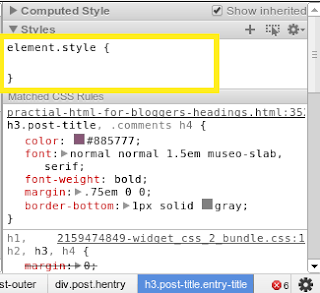 detail of Chrome developer tools
