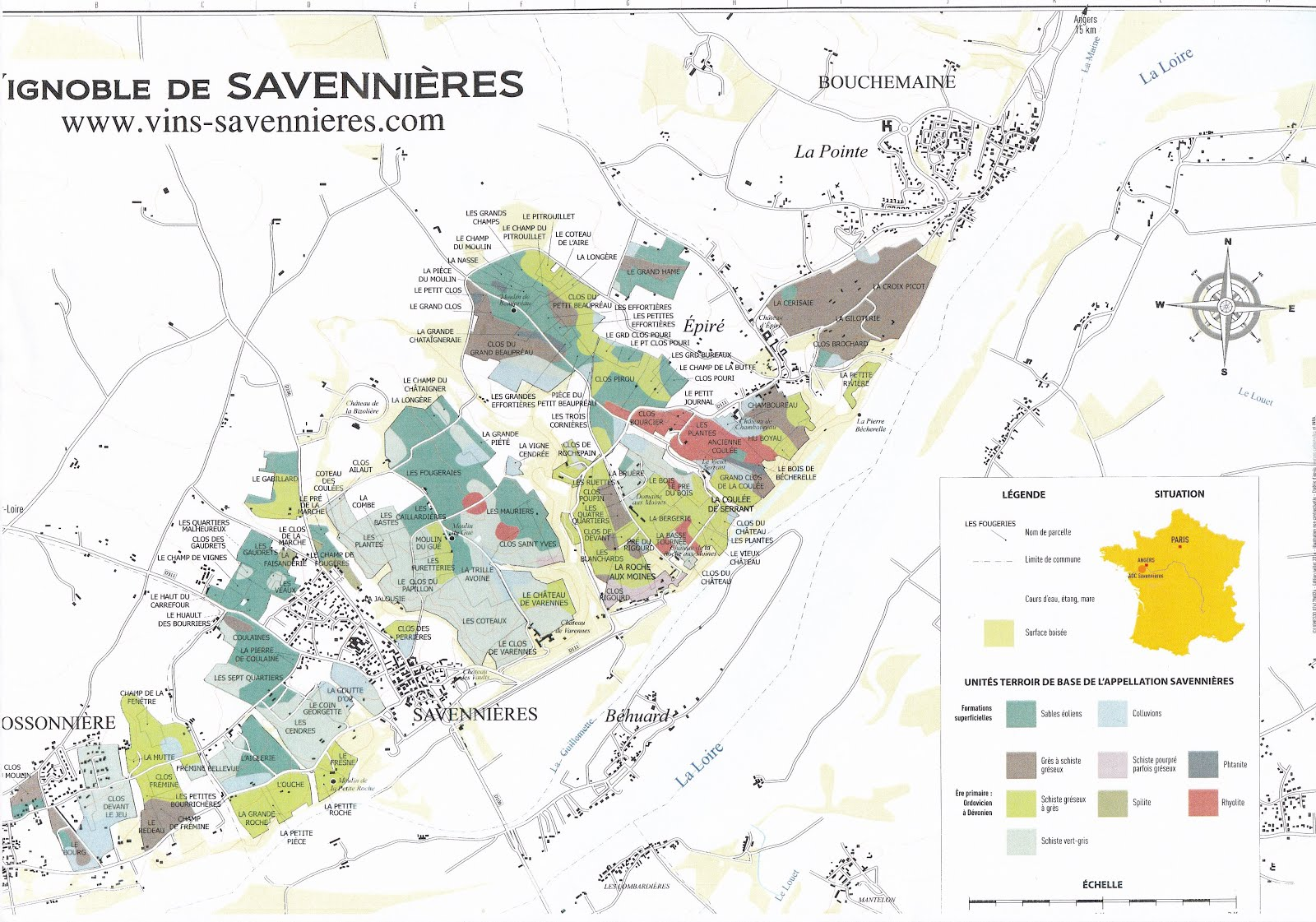 carte des vins de Savennières