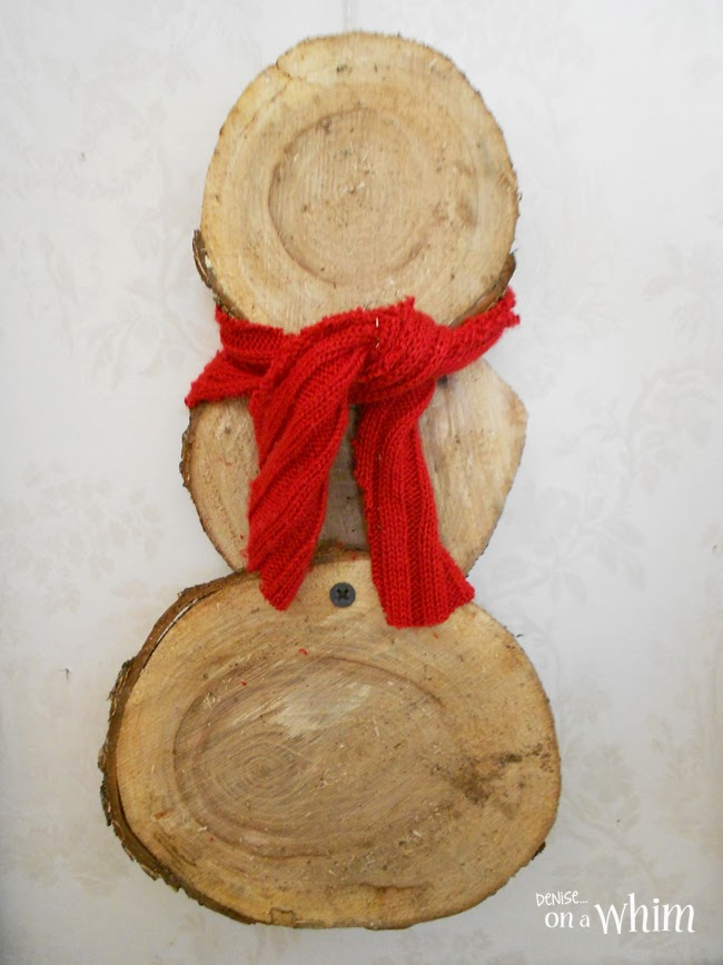 Rustic Wood Slice Snowman via Denise on a Whim