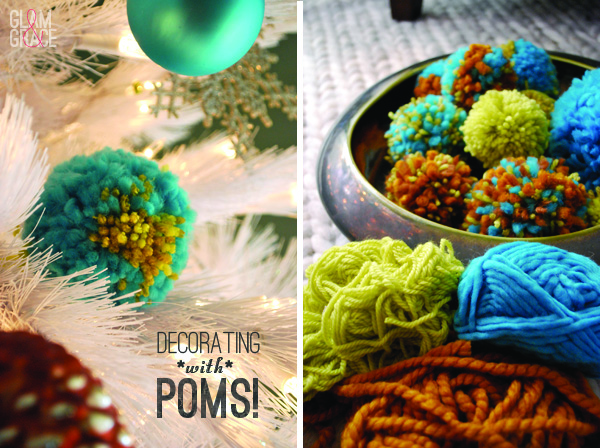 colorful Christmas tree pom poms