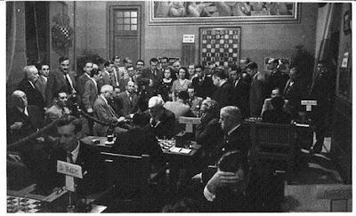 Sala de juego del Torneo Internacional de Ajedrez Barcelona 1935