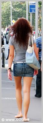 Girl in jean mini skirt