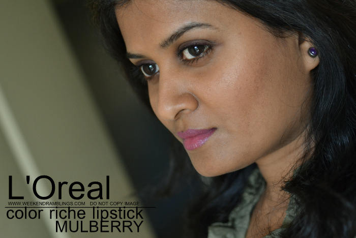 LOreal Makeup Color Riche plum mauve Lipstick Mulberry 710 Swatch Indian Darker Skin Beauty Blog Swatches Reviews FOTD Looks