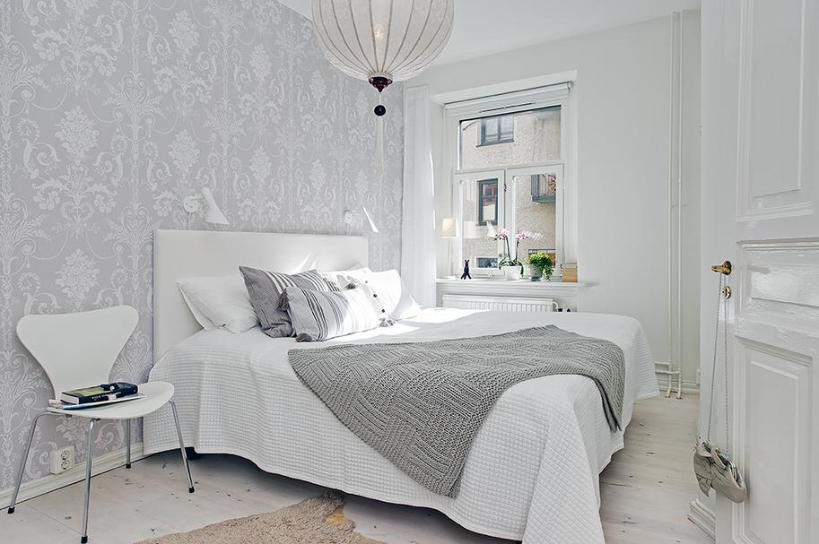 Espacio style c mo vestir una cama - Papel pintado blanco y gris ...