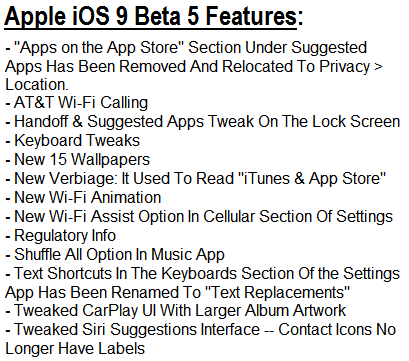 iOS 9 Beta 5 Features