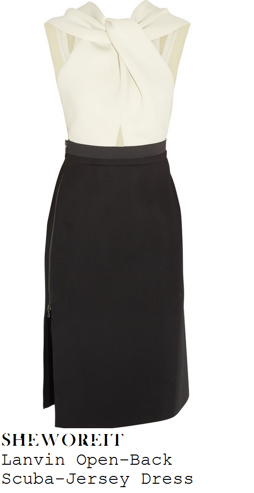 cheryl-cole-off-white-cream-and-black-sleeveless-twisted-knot-front-pencil-dress-graham-norton-show