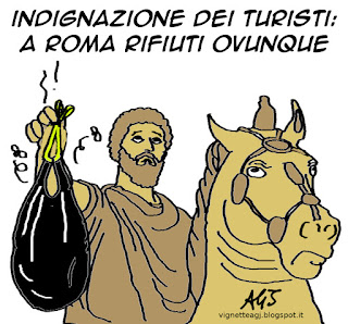 roma, new york times, immondizia, degrado, satira, vignetta