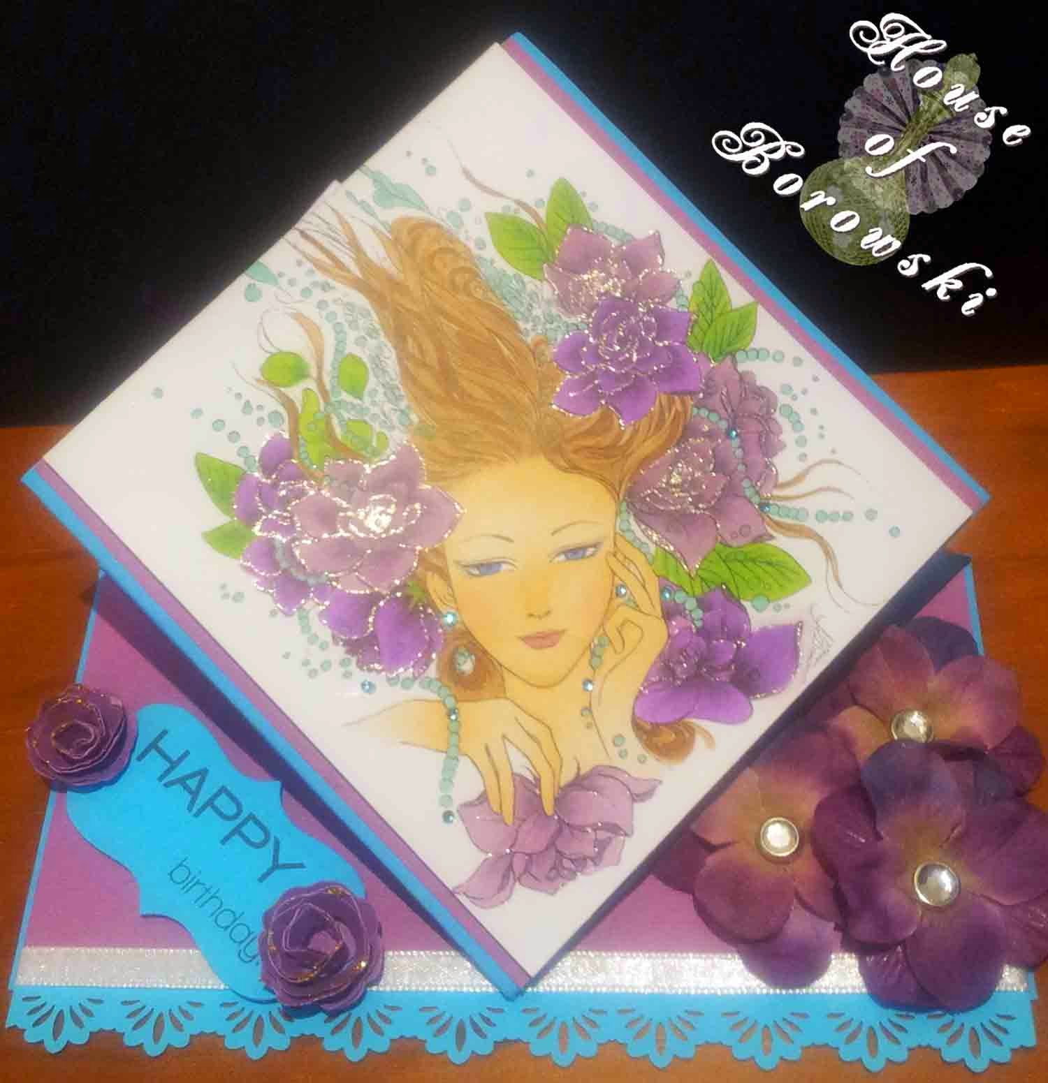 HOB, Spring Card, Aurora Wings Women with Gardenia and Pearls, Copics,Papertrey ink doodlie-do, Simon Says Stamps Happy,Garden Favourites quilled small roses, spellbinders grommet tags.