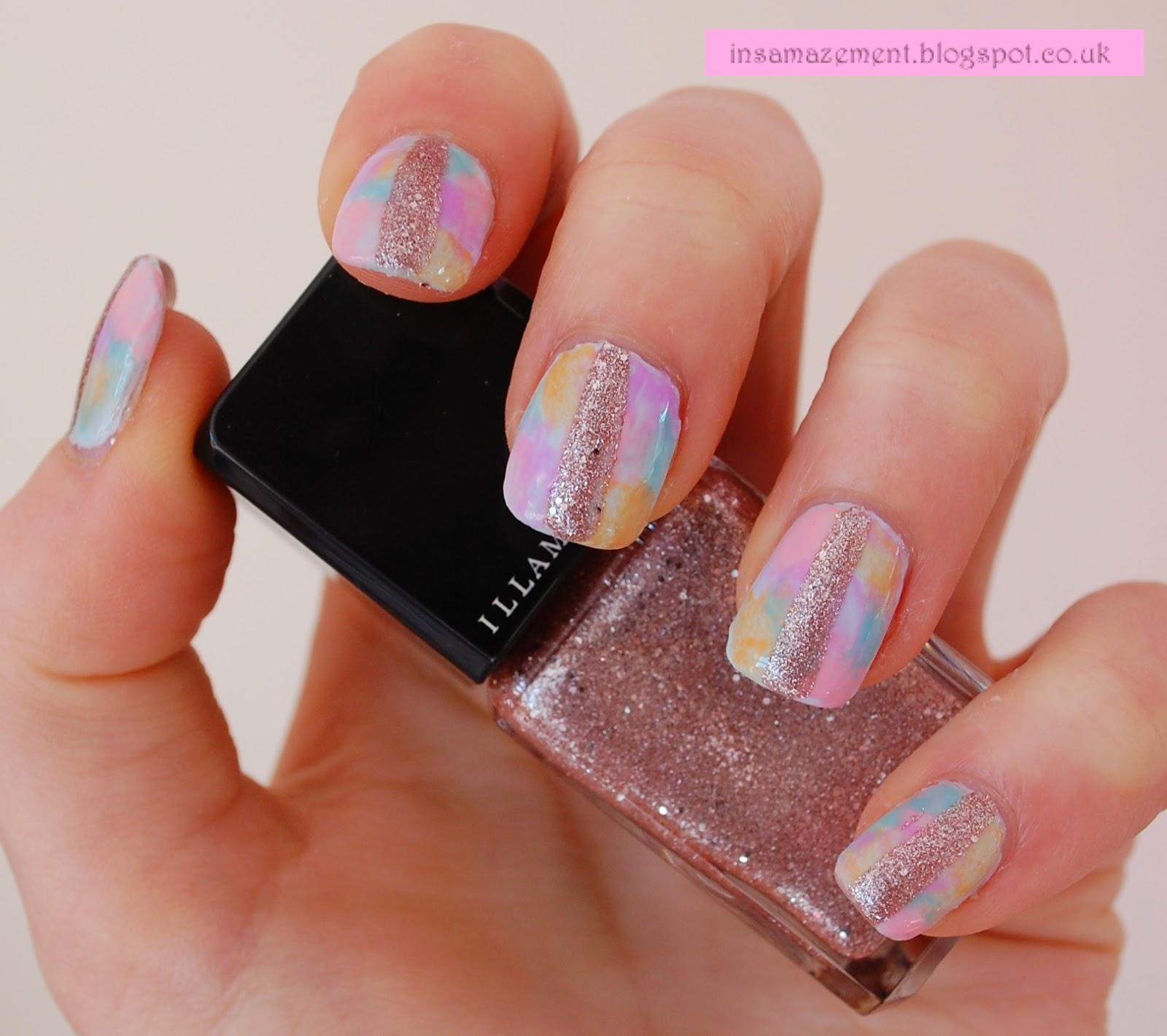 In Samazement Tie Dye Glitter Nail Art Tutorial