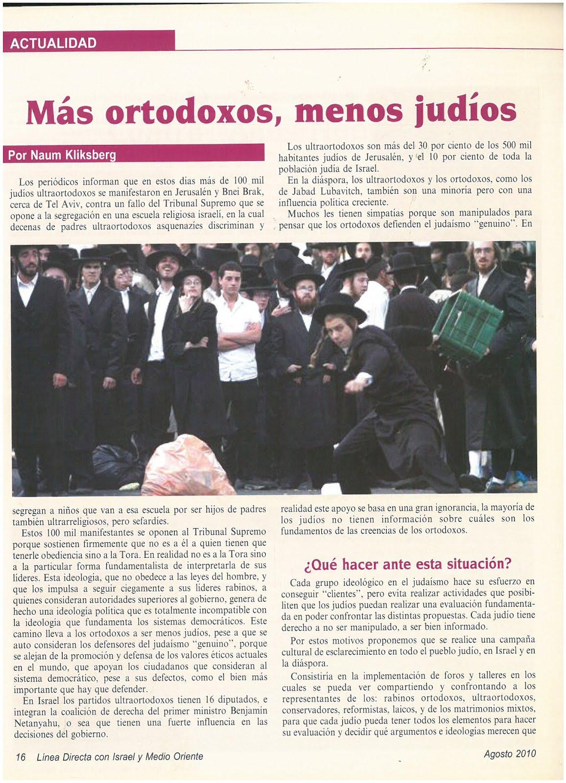 52 -Revista Israelí Linea Directa entre Israel y Medio Oriente.08/2010. Artículo de Naum Kliksberg