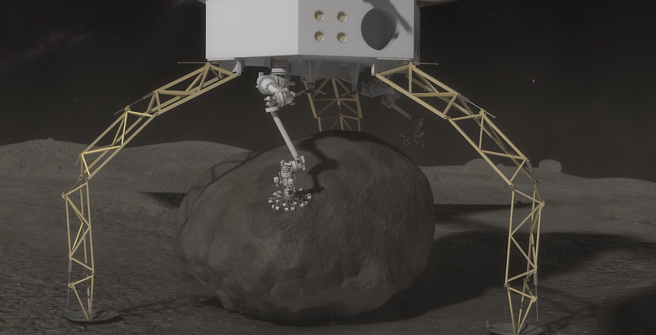 "Once the boulder is secured, the Asteroid Redirect Vehicle will mechanically push off, or ""hop,"" from the surface and then use thrusters to ascend from the asteroid's surface. Credit: NASA"