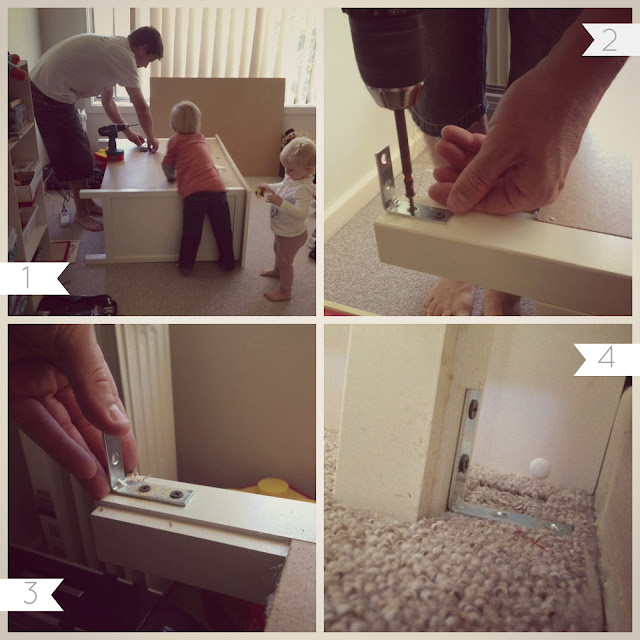 How to safely secure furniture for toddlers.