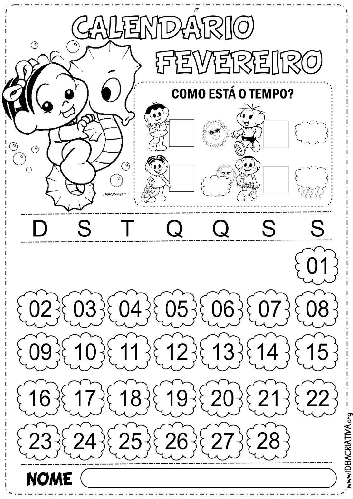 Calendários Fevereiro Turma da Mônica com e sem numeração