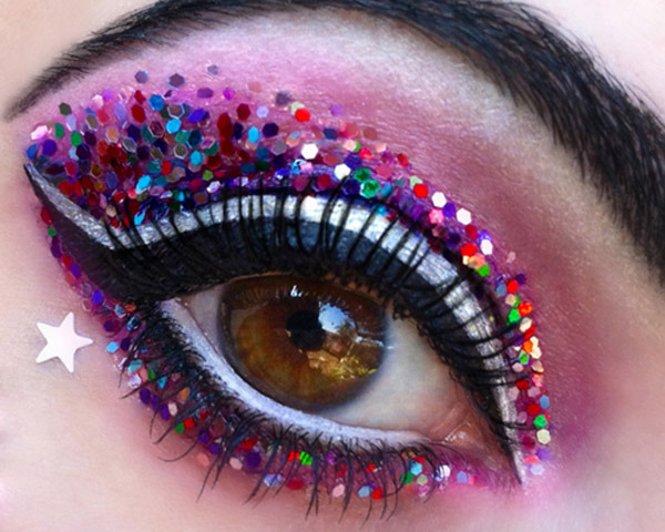 Colorful Glittery Eye Makeup