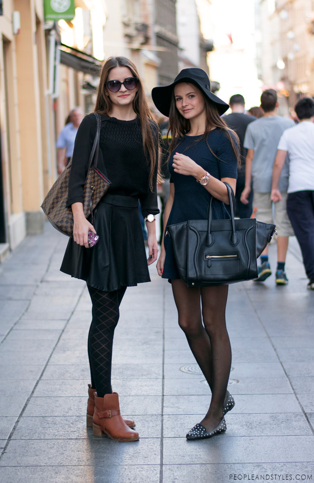 Sestrične Marija i Iva Pandurević, floppy hat and Celine bag, skirt outfit with ankle boots, Zagreb subota street