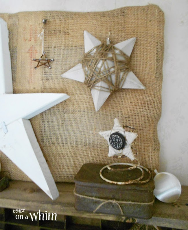 White and Burlap Star Themed Christmas Decorating  | Denise on a Whim