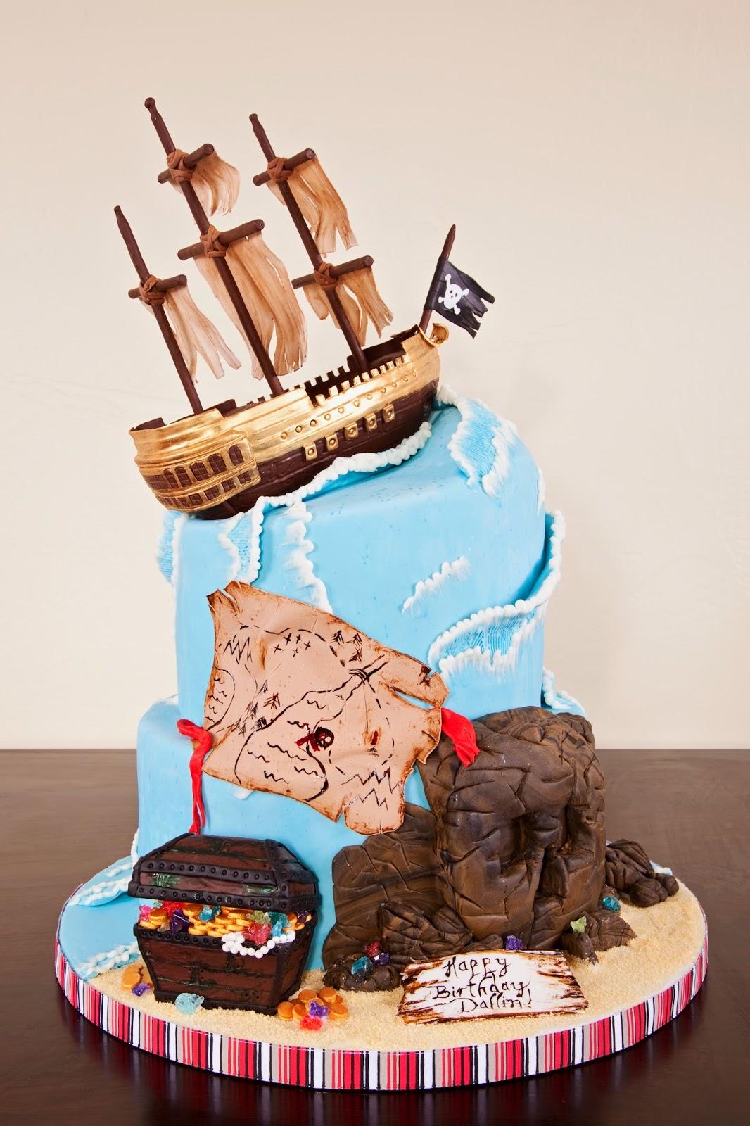 Making A Pirate Ship Birthday Cake
