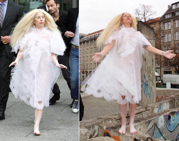 A white beautiful heart shaped transparent dress with long wig