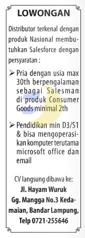 Lowonagan Kerja SALESFORCE Lampung
