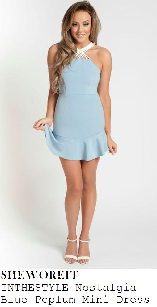 charlotte-crosby-baby-blue-sleeveless-white-strap-peplum-mini-dress-this -morning