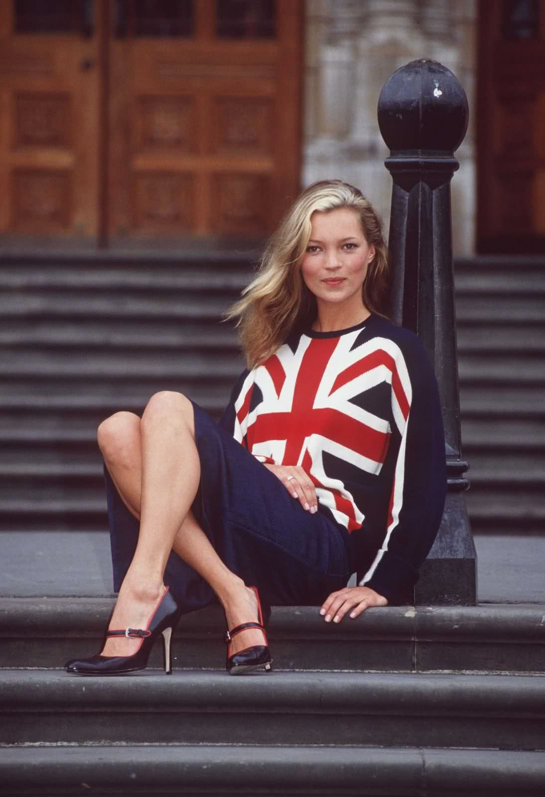 Kate Moss wearing Clements Ribeiro Union Jack sweater photographed by Richard Chambury at the start of London fashion week in September 1997 / via fashioned by love british fashion blog