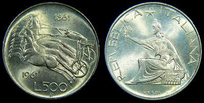 numismatica & filatelica,,,  500+lire+centenario
