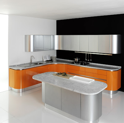 modern orange and metallic kitchen cabinets