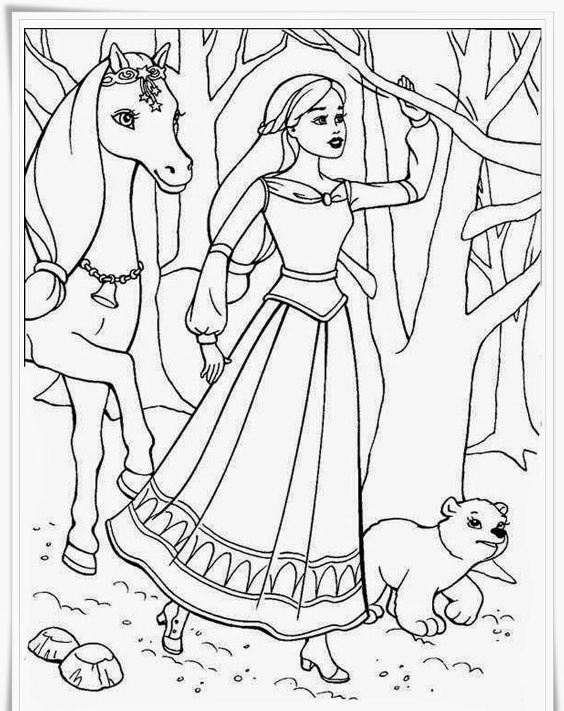 Gambar mewarnai barbie dan kuda