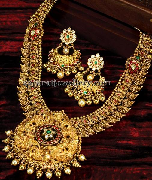 Nakshi Work Mango Set Kundan Earrings
