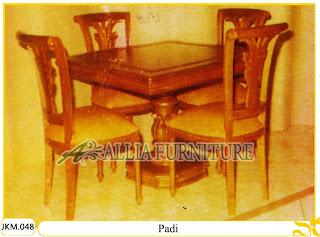 Kursi dan Meja Makan Ukiran Kayu Jati Padi