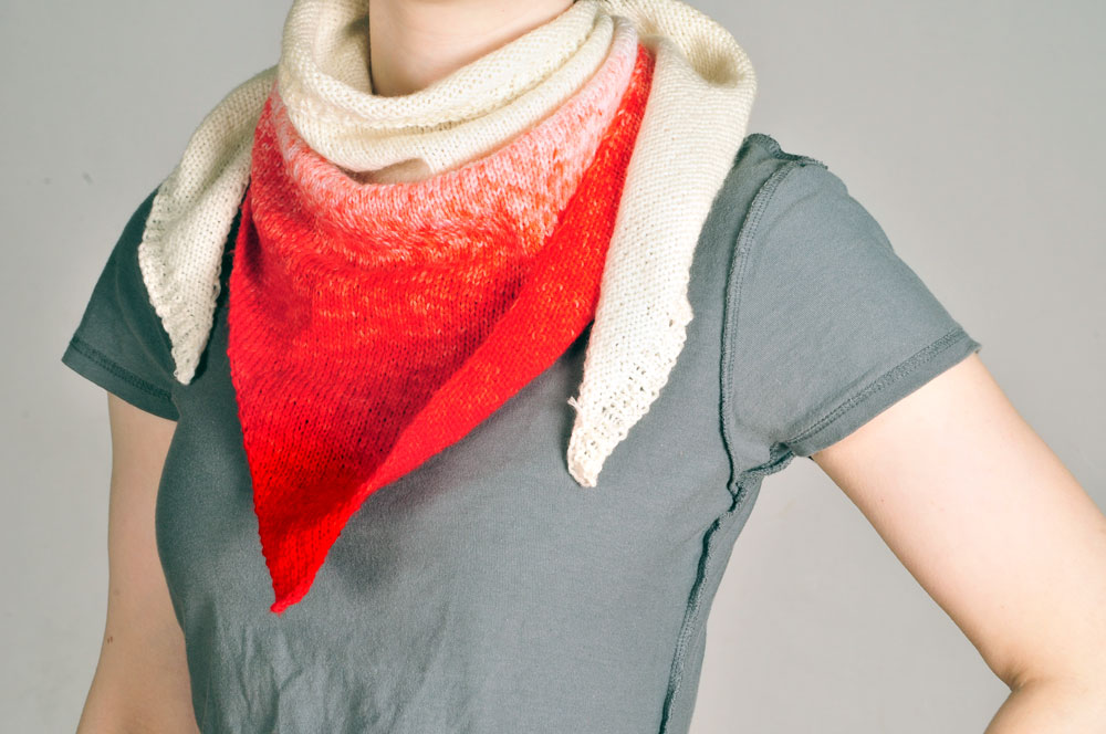 Free Knitting Patterns For Beginners Baby Blanket : So, I make stuff: Red and white ombre knit bandana