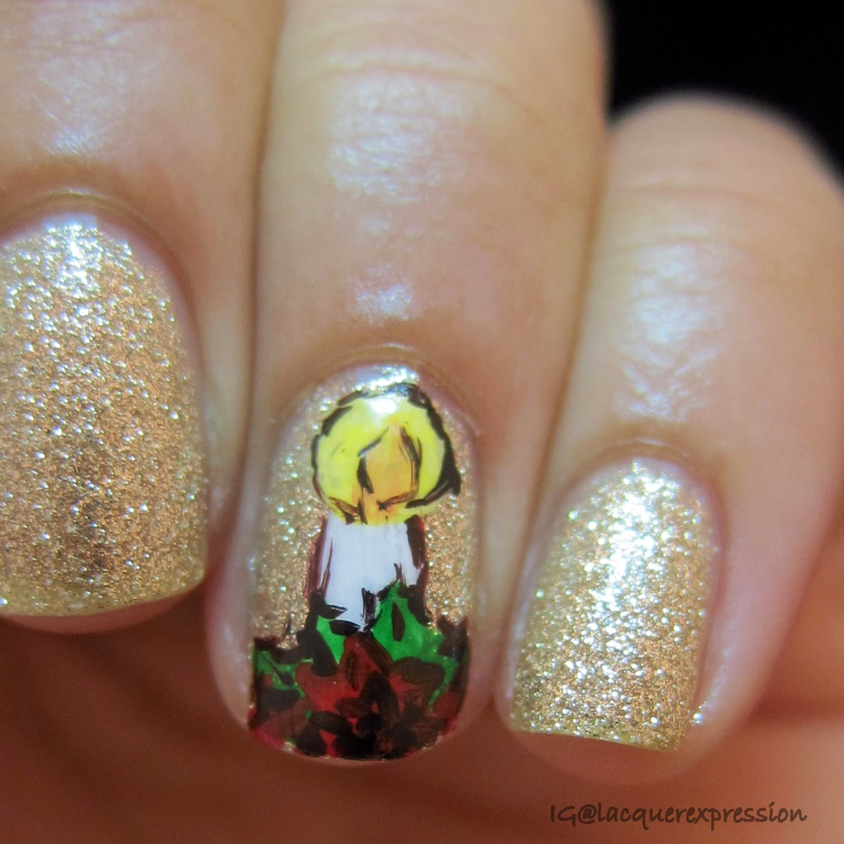 White candle and poinsettia nail art over Zoya Tomoko