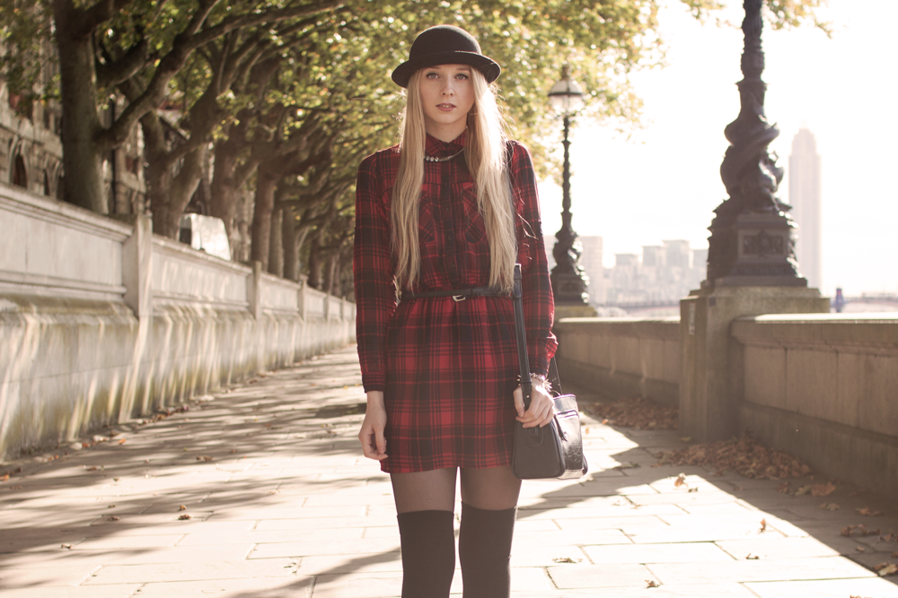sukienka w kratkę tunika house kapelusz Londyn blog modowy