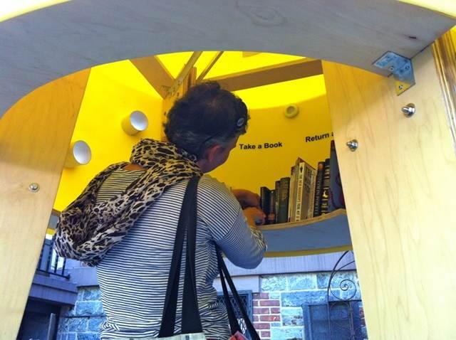 memilih buku di dalam perpustakaan