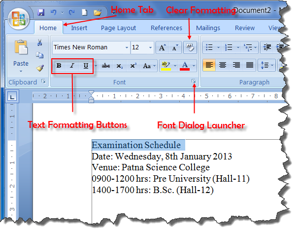 Home Tab and Formatting Buttons of MS Word 2007