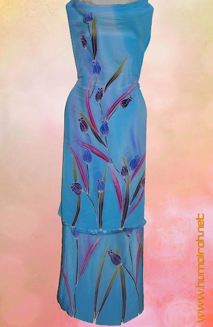 Batik Sutera Lukis Crepe Tulip Biru