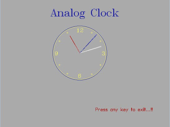 C++ Program to create an Analog Clock