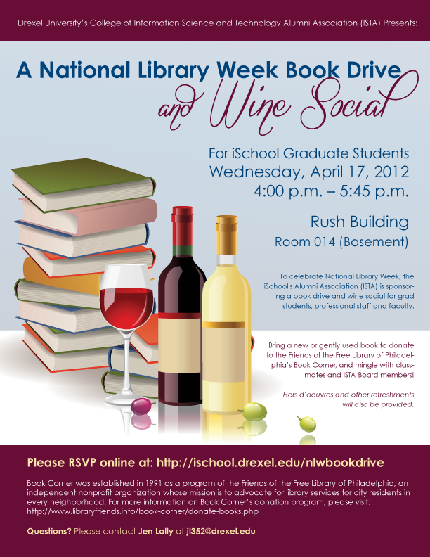 dusla  national library week book drive and wine social