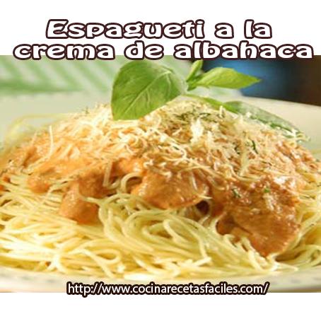 Recetas de pastas,  receta espaguetti a la crema albahaca,  queso,