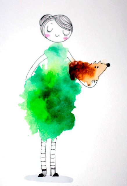 blots of watercolor girl illustration