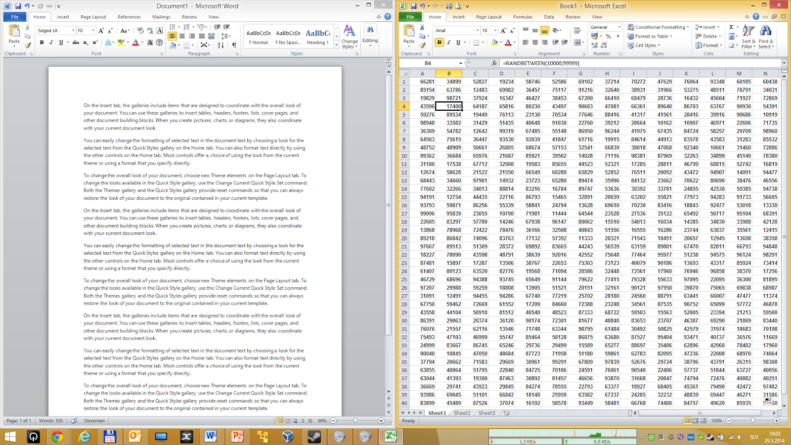 Word and Excel - side by side on same screen.