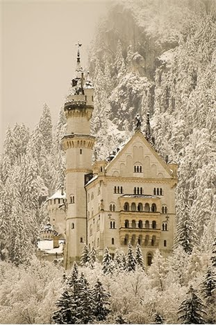 Neuschwanstein Castle covered with snow