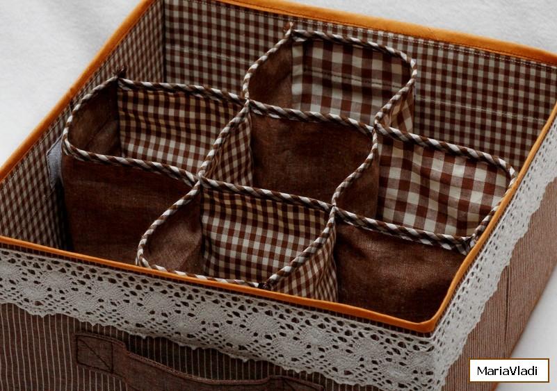 Текстильная коробка для хранения вещей своими руками 208