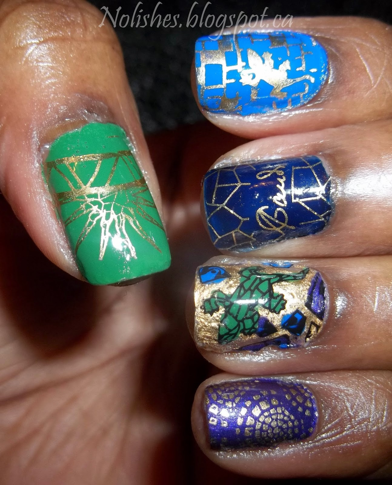 Nail Stamping manicure created using Moyou London Artist 13, in green, blue, navy, purple and gold.