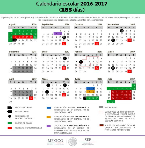 Dias de descanso o vacaciones ciclo escolar 2016 2017 SEP Mexico ...