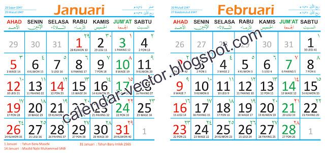 ) dilengkapi kalender Jawa, Pasaran, Pranoto mongso dan Hijriyah 1435