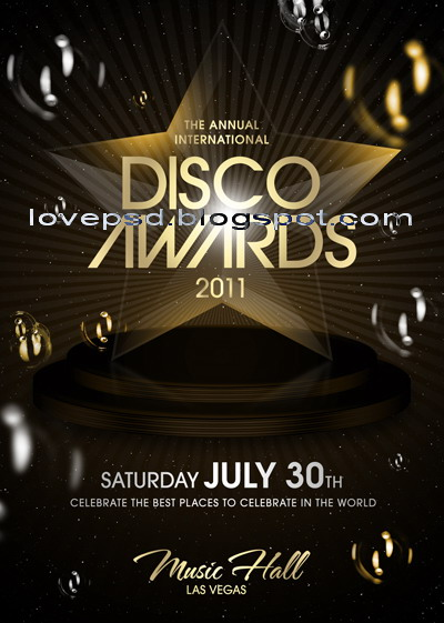 Love Psd Disco Award Party Flyer