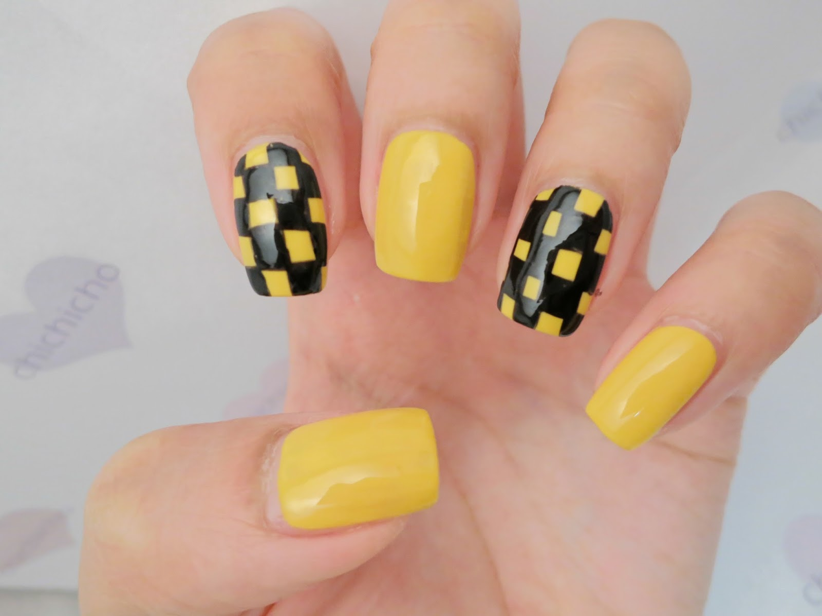 Black And Yellow Checker Nail Art Chichicho