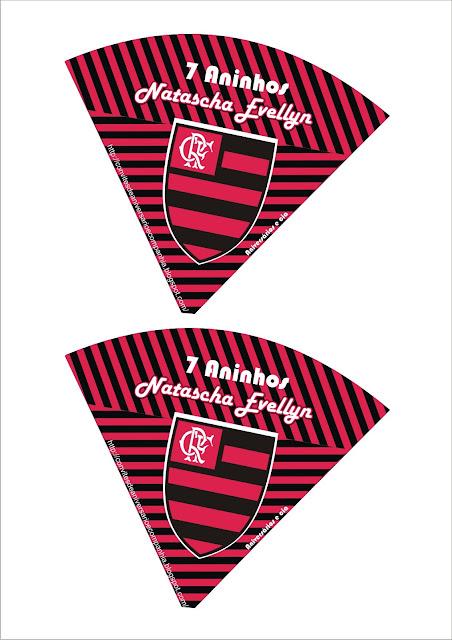 Cone para guloseimas de aniversário com escudo do Flamengo